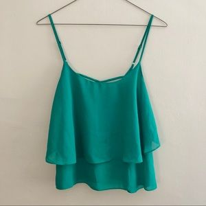 EUC green flowy crop top